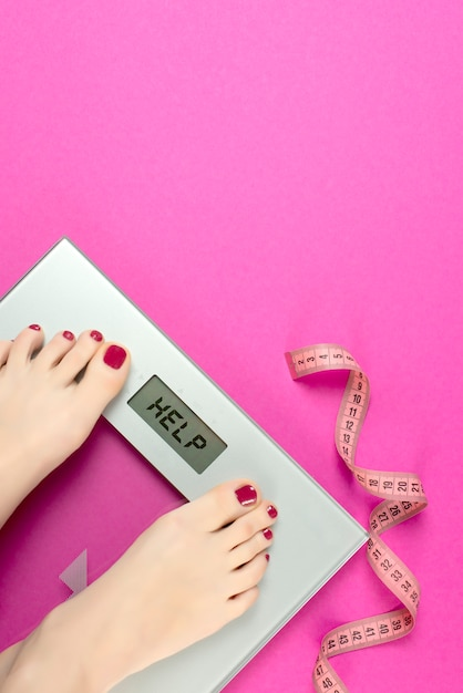 Scaleson pink. healthy lifestyle, body slimming Premium Photo