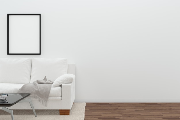 scandinavia living room white sofa wall dark brown floor background