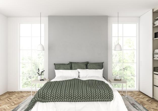 Scandinavian bedroom with blank wall Premium Photo