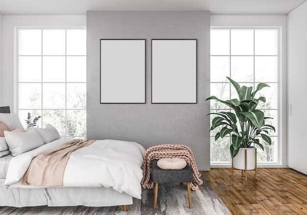 Скандинавская спальня с пустыми двойными рамами Premium Фотографии