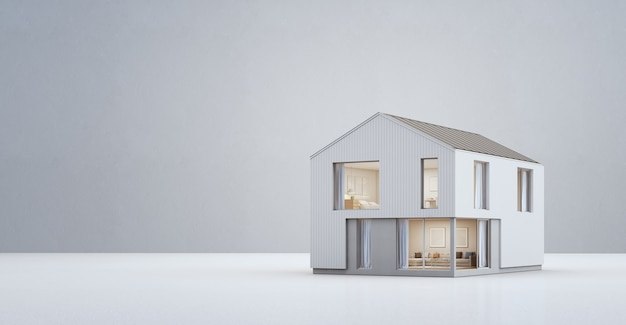 Scandinavian house in modern design with copy space. Premium Photo