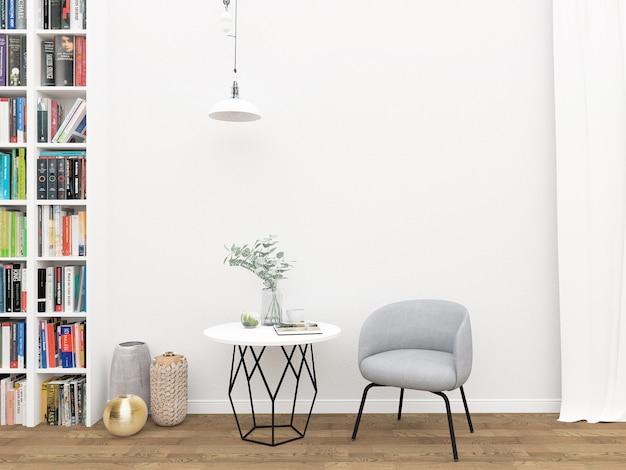 Scandinavian Interior Blank Wall Mockup Photo Premium