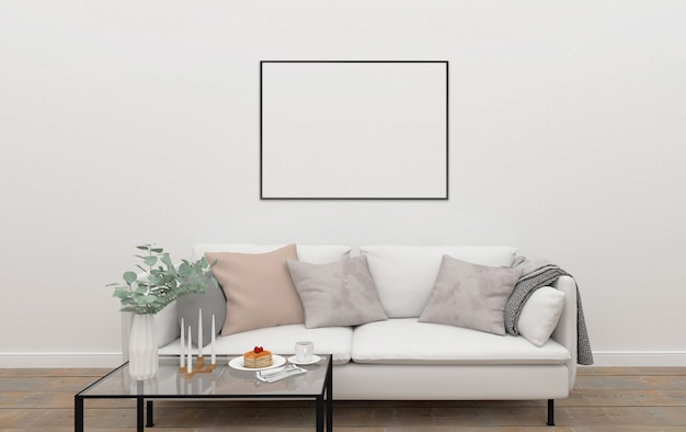 Scandinavian interior horizontal frame mockup photo - Interiors by design picture frames ...