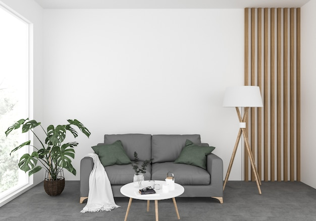 Excellent Scandinavian Living Room With A Grey Sofa Blank Wall Mockup Beatyapartments Chair Design Images Beatyapartmentscom