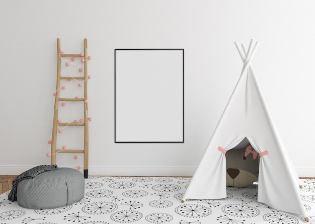 Scandinavian nursery room with vertical frame Premium Photo