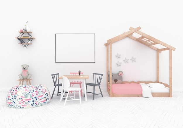 Scandinavian playroom with hroizontal frame Premium Photo