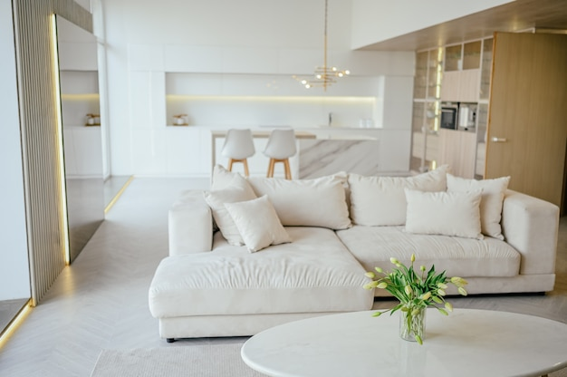 Premium Photo Scandinavian Style Bright Classic Modern Luxury Living Dining Room And Kitchen With Wooden White Marble Details New Stylish Furniture Cozy Sofa Couch Minimalistic Nordic Interior Design
