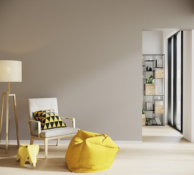 Scandinavian style living room with chair and lamb and decor Premium Photo
