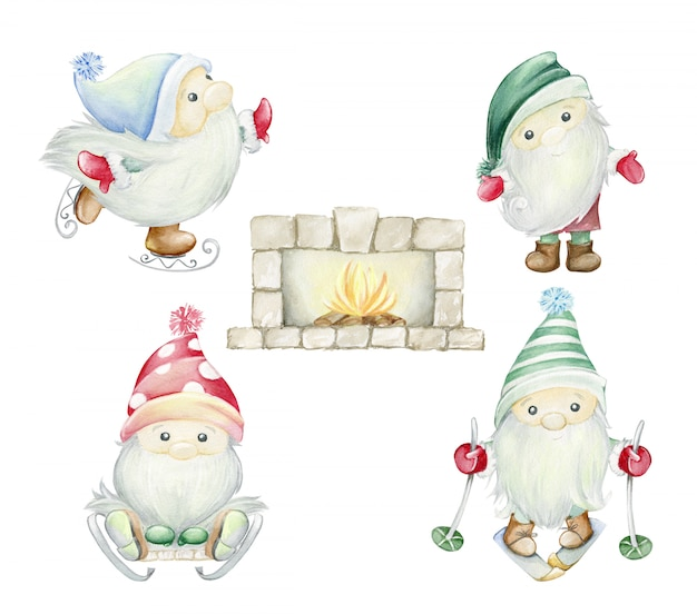 Scandinavian trolls, gnomes. fireplace, hearth, with a burning fire, wood. watercolor illustration set Premium Photo