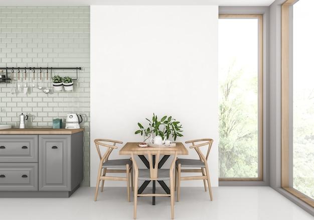 Scandinavian with blank wall Premium Photo