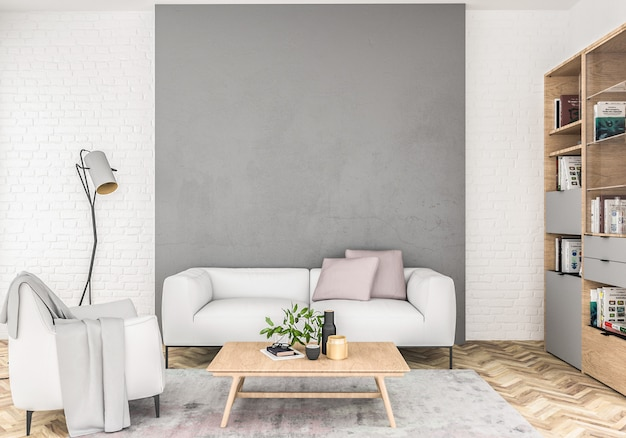 Scandinavian with empty wall. Premium Photo