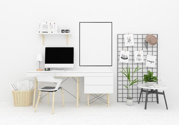 Scandinavian workspace artwork background Premium Photo