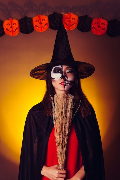 scary girl in halloween costume free photo