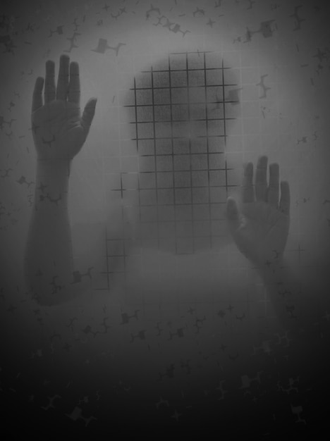Scary woman behind a glass door Premium Photo