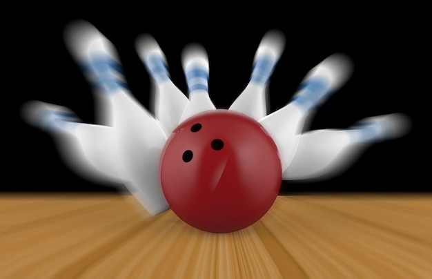 Scattered skittle and bowling ball on wooden floor Premium Photo
