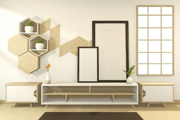 シーンキャビネット木製トロピカルスタイルの部屋のインテリアデザイン。 3dレンダリング Premium写真
