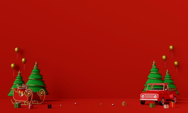 Scene of christmas truck full of christmas gifts and sleigh background Premium Photo
