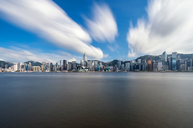 Scene of hong kong cityscape river side in the afternoon Premium Photo