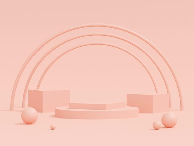 Сцена пастельного цвета с подиумом геометрической формы на розовом фоне, 3d-рендеринга Premium Фотографии