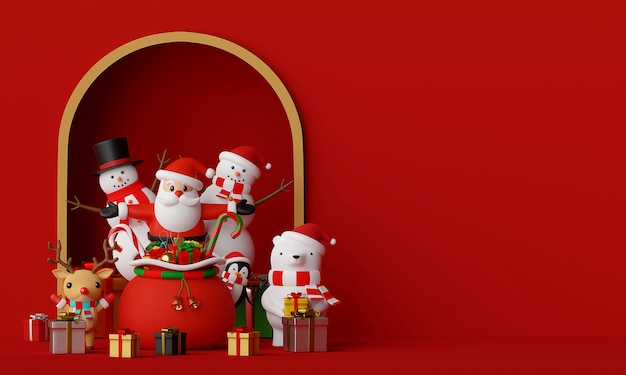 Scene of santa claus and friends with copy space 3d rendering Premium Photo