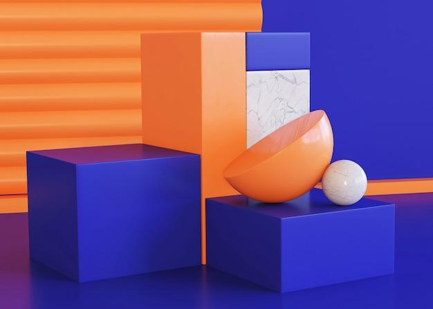Scene of three dimensional geometrical background Free Photo