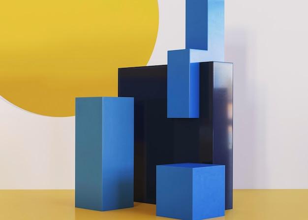 Scene of three dimensional geometrical background Premium Photo