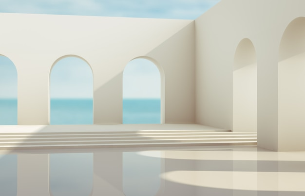 Scene with geometrical forms, arch with a podium in natural day light. minimal landscape background. sea view. 3d render background. Premium Photo