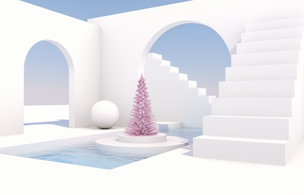 Scene with geometrical forms, arch with a podium in natural day light. minimal landscape with christmas tree Premium Photo