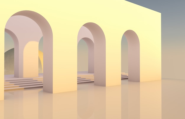 Scene with geometrical forms, arch with a podium in natural light and moon. minimal background. surreal background. 3d render. Premium Photo
