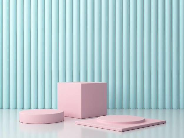 Scene with geometrical forms in pastel colors. minimal podium. pink platforms in blue blackground. P