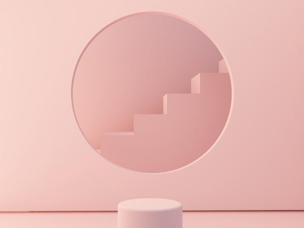 空の表彰台と幾何学的形態のシーン。幾何学的形状の階段とフレームの円の形状 Premium写真