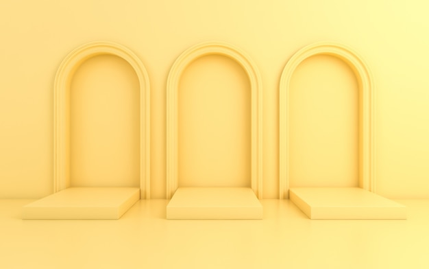 Scene with minimal background, arch with a podium, 3d render Premium Photo