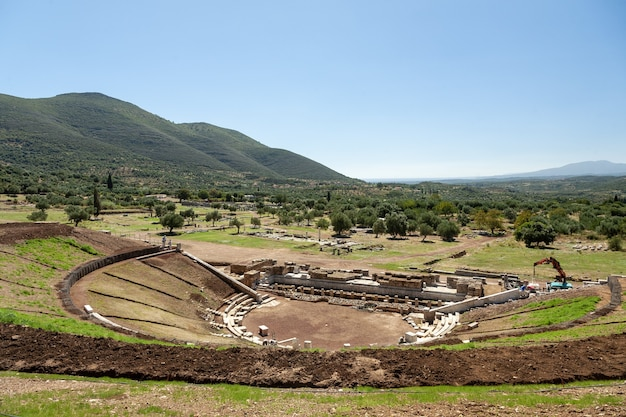 Scenery of an ancient historic theatre in greece Free Photo
