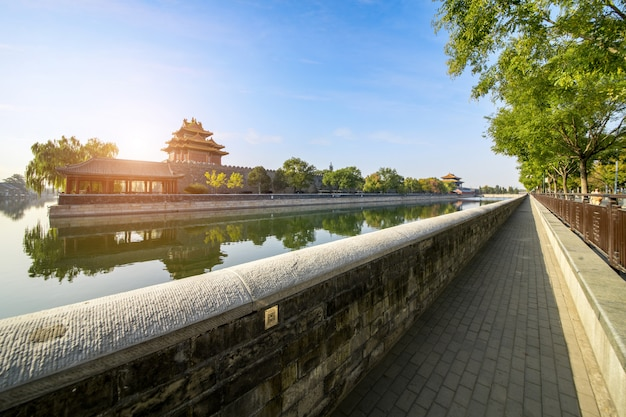 Scenery of the imperial palace corner tower in beijing Premium Photo