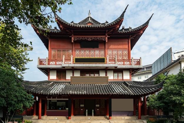 Пейзаж храма конфуция в нанкине, провинция цзянсу, китай Premium Фотографии