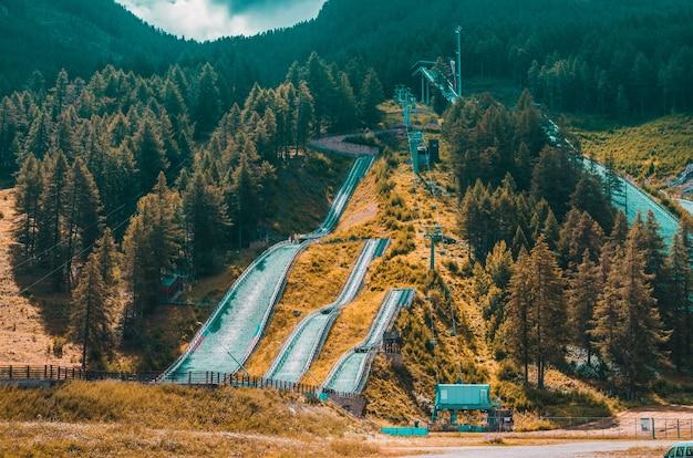 Пейзаж высоких холмов, покрытых лиственницей и тропы под пасмурным небом в прагелато, италия Бесплатные Фотографии