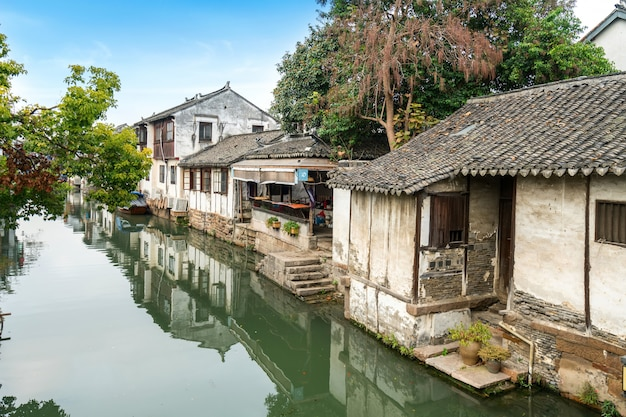 Scenery of zhouzhuang ancient town, suzhou, china Premium Photo
