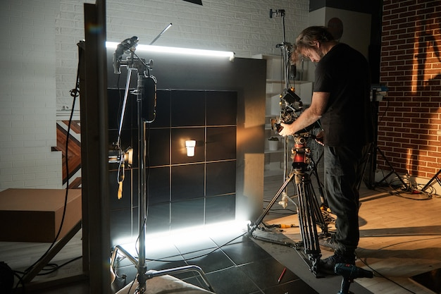 Behind the scenes of filming movies and video products Premium Photo
