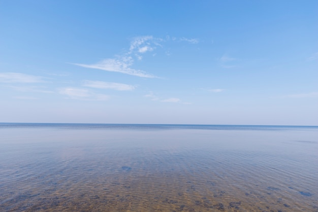 Scenics view of idyllic sea against blue sky Free Photo