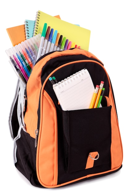 School bag with accessories Free Photo