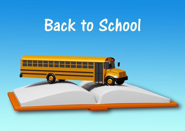 School bus over book isolated on blue background. back to school concept Premium Photo