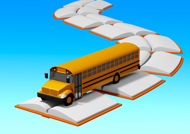 School bus traveling over road built of books. back to school concept Premium Photo