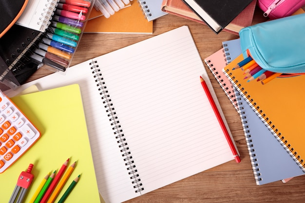 School Desk With Open Notebook Photo Free Download