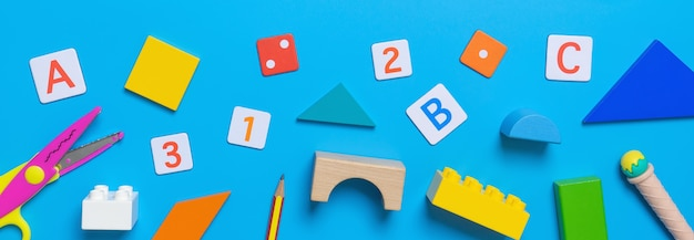 School educational toy and stationary for math concept Premium Photo