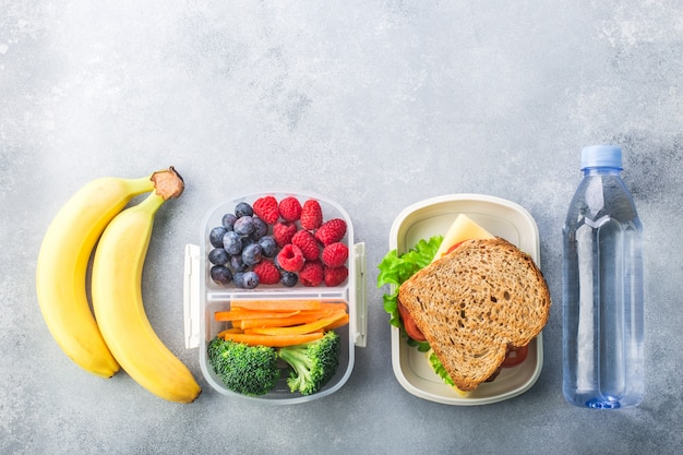 School lunch box with sandwich vegetables berries banana on grey table healthy Premium Photo