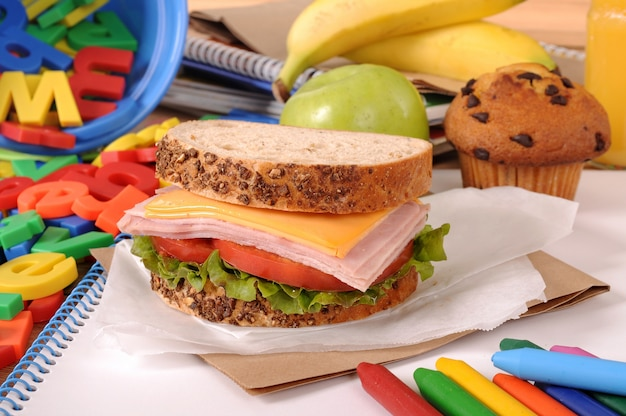 School lunch on classroom desk Free Photo