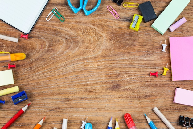 school office supplies on a background photo