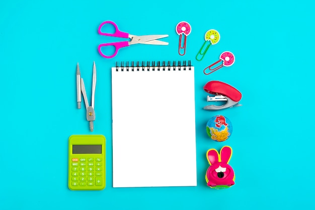School and office supplies concept back to school flat lay top view Premium Photo