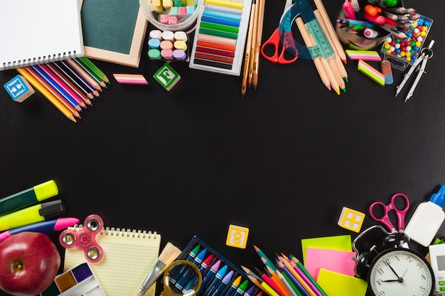 School and office supplies. top view. Premium Photo