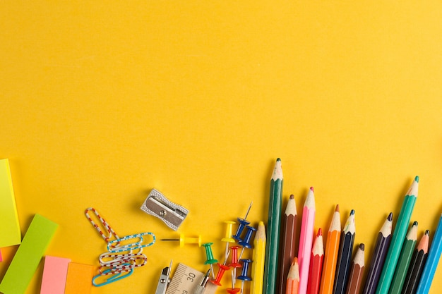 School and office supply top view Premium Photo